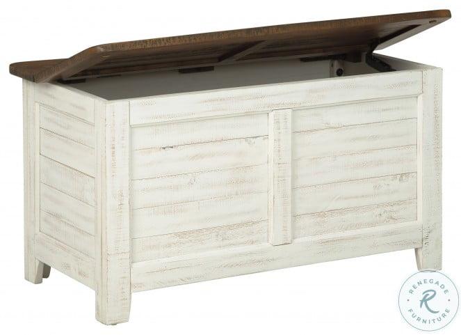 Dashbury Antique White and Brown Storage Trunk