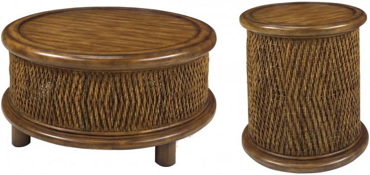 Turk Tea Round Woven Occasional Table Set