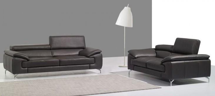 A973 Grey Italian Leather Living Room Set