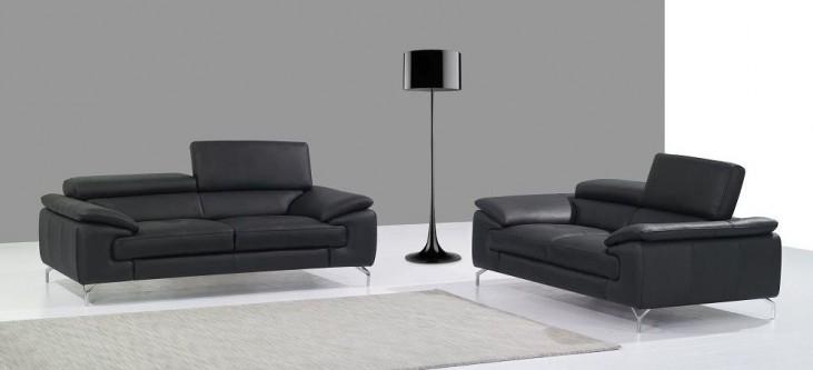 A973 Black Italian Leather Living Room Set