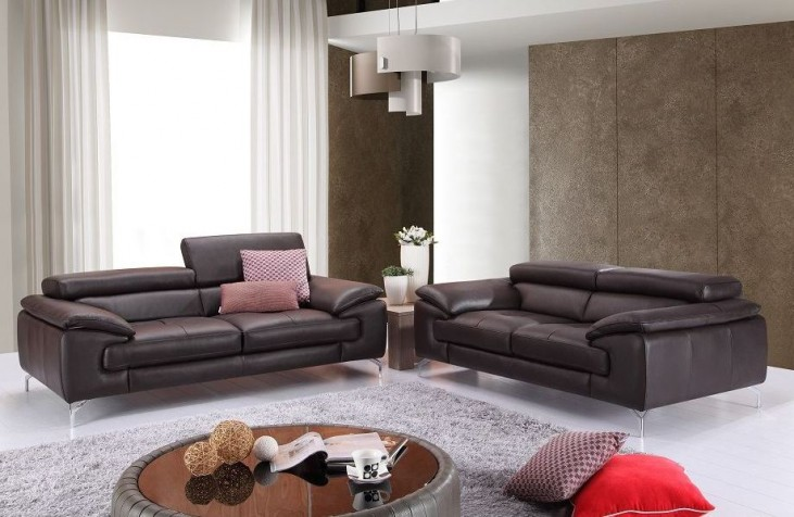 A973 Coffee Italian Leather Living Room Set