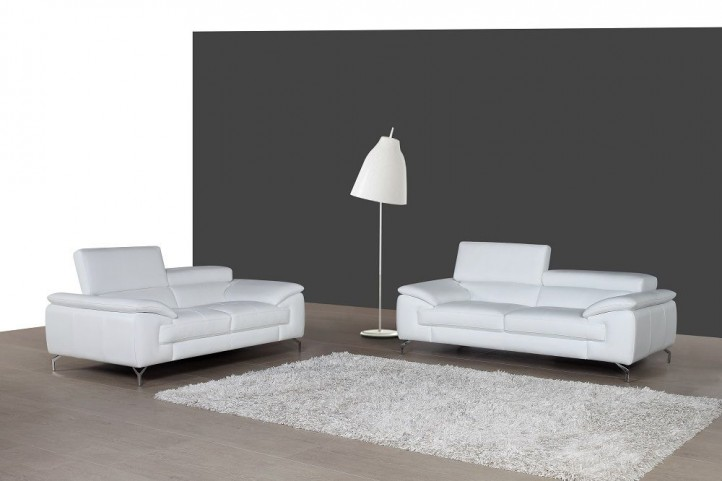 A973 White Italian Leather Living Room Set