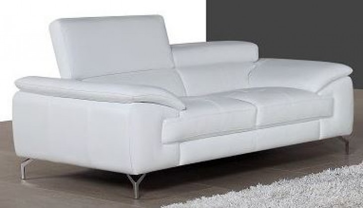 A973 White Italian Leather Loveseat