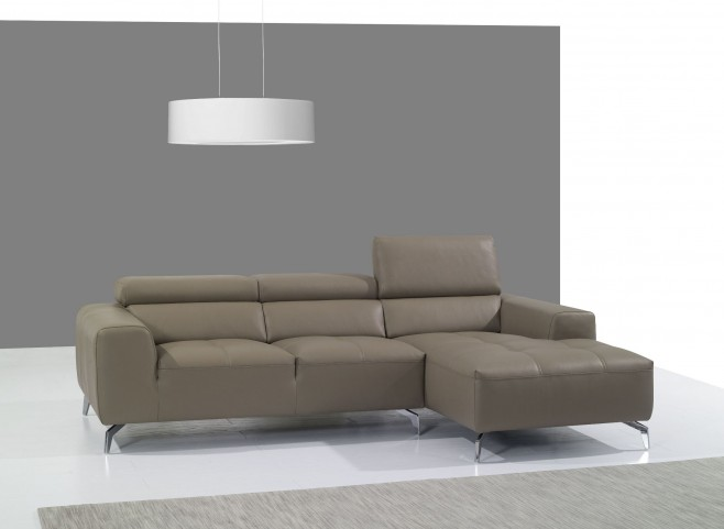 A978B Burlywood Italian Leather RAF Chaise Sectional
