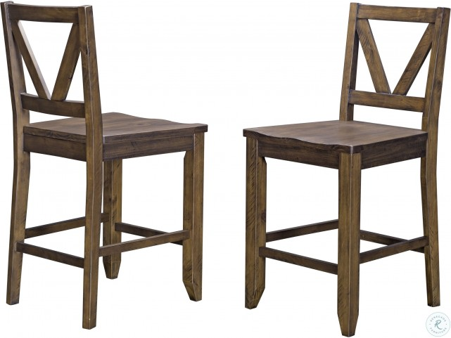 Stupendous Aberdeen Rustic Timber V Back Wood Seat Counter Stool Set Of 2 Pdpeps Interior Chair Design Pdpepsorg