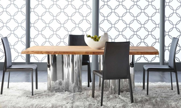 Xena Absolute Natural Rectangular Dining Room Set with Ritz Luca Matte Black Crocodile Dining Chairs