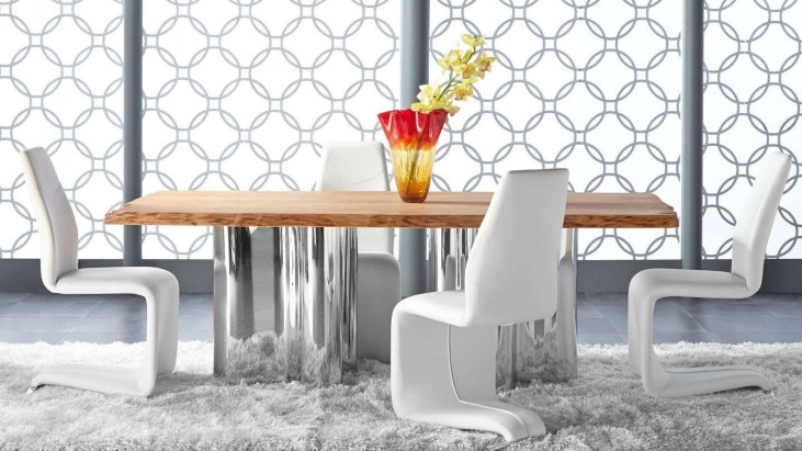 Xena Absolute Natural Rectangular Dining Room Set with Regis Mobi White Dining Chairs