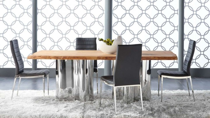 Xena Absolute Natural Rectangular Dining Room Set with Ritz Shine Black Dining Chairs