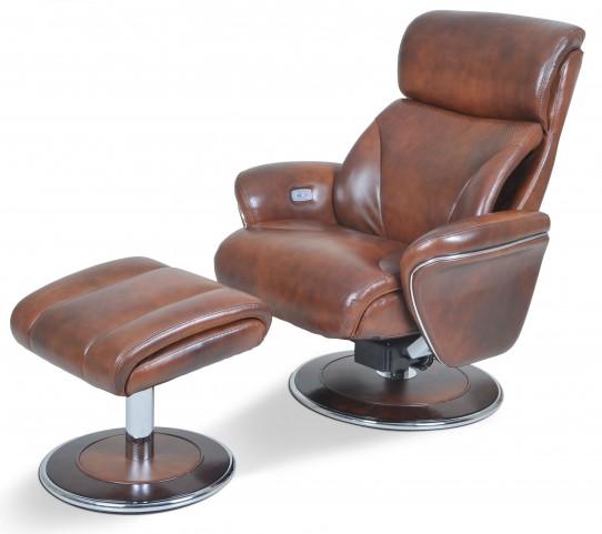 Ergonomic Leather Saddle Reclining Chair & Ottoman
