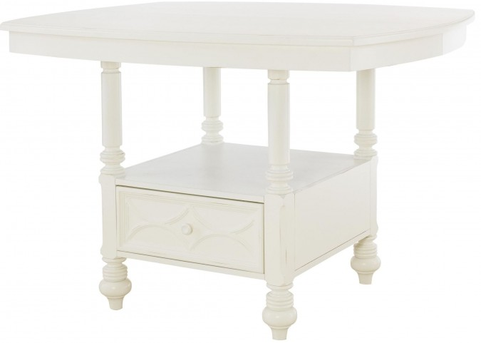 Lynn Haven Soft Dover White Extendable Storage Dining Table