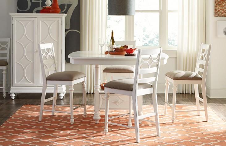 Lynn Haven Soft Dover White Adjustable Storage Extendable Dining Room Set