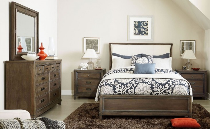 Park Studio Weathered Taupe Upholstered Sleigh Bedroom Set