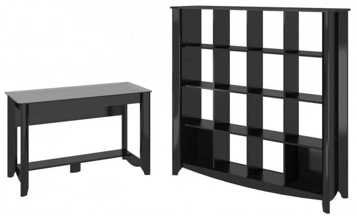 Aero Classic Black Desk With 16 Cube Bookcase