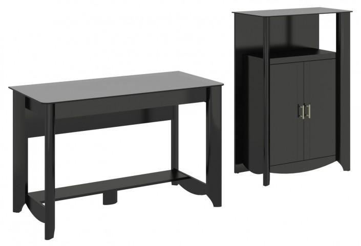 Aero Classic Black Desk With Medium Library Storage