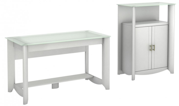 Aero Pure White Desk With Medium Library Storage