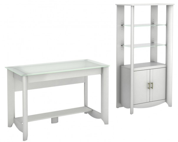 Aero Pure White Desk With Tall Library Storage