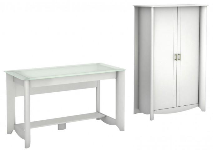 Aero Pure White Desk With Tall Storage