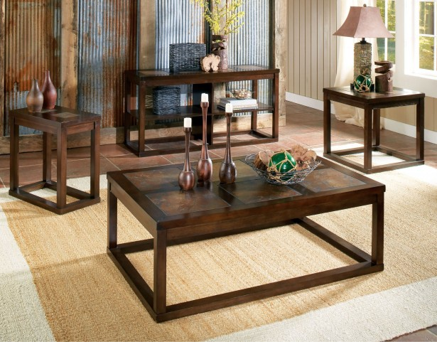Alberto Brown Oak Occasional Table Set