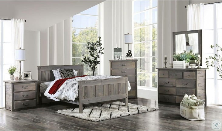 Rockwall Weathered Gray Panel Bedroom Set From Furniture Of America Coleman Furniture