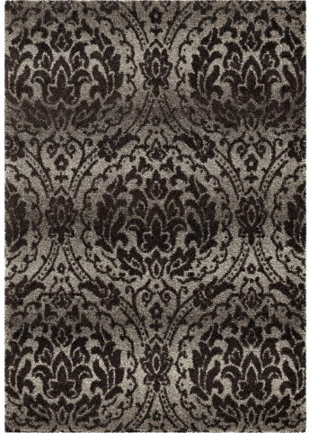 American Heritage Plush Pile Damask Norfolk Gray Small Area Rug