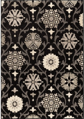 American Heritage Floral Chico Black Small Area Rug