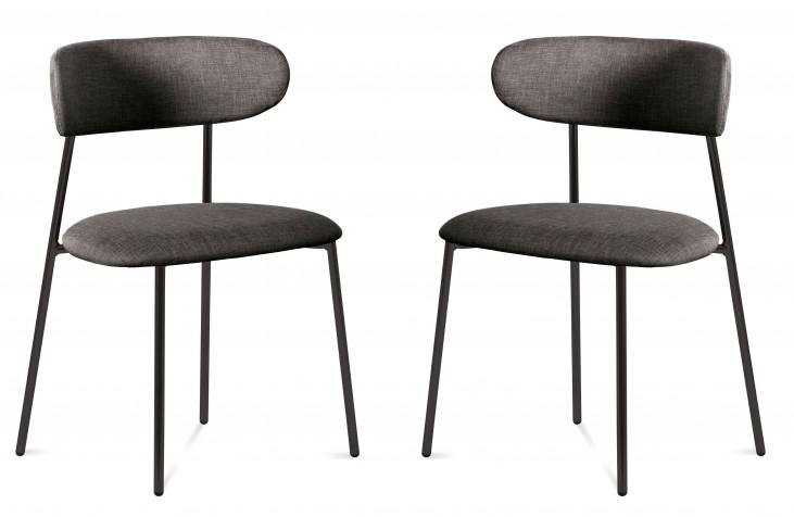 Anais Flirt Brown Lacquered Steel Chair Set of 2