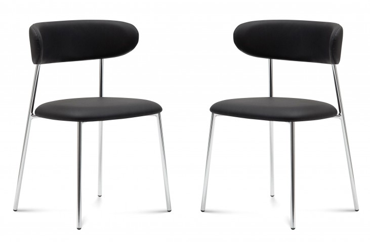 Anais Skill Black Lacquered Steel Chair Set of 2