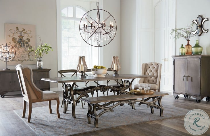 """Anderson Weathered Gray 90"""" Dining Room Set"""
