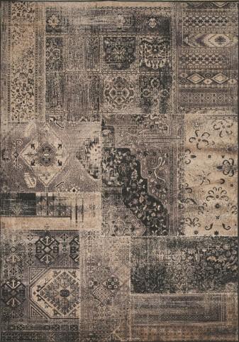 "Antika Brilliant Dark Patchwork 67"" Floor Cloth Rug"
