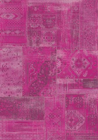 "Antika Brilliant Pink Patchwork 67"" Floor Cloth Rug"