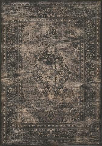 "Antika Black Old World 67"" Floor Cloth Rug"