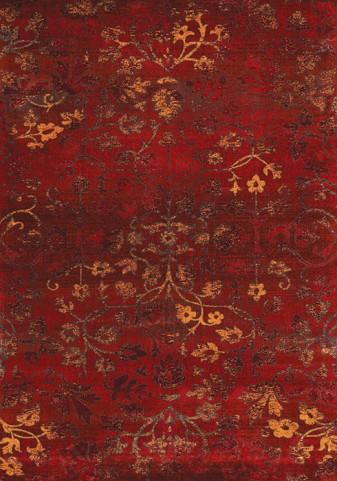Antika Intricate Red Flowers Floor Cloth Medium Rug