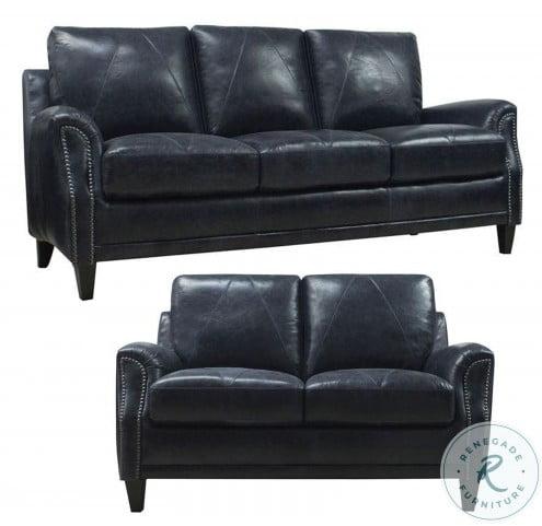 Mendy Midnight Blue Leather Living Room Set