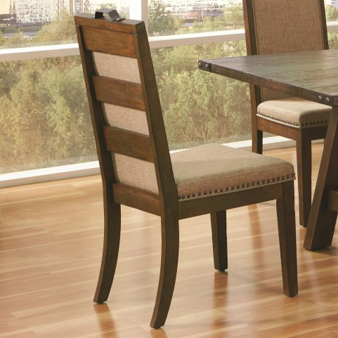 Arcadia Weathered Acacia Upholstered Dining Chair Set of 2