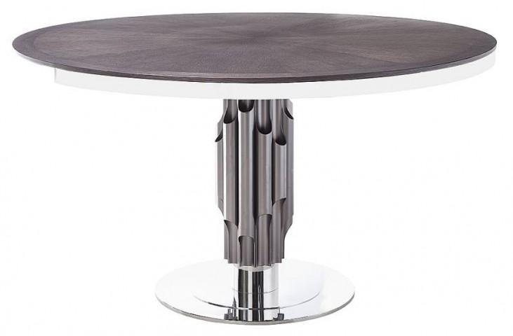 Xena Aria Matte Light Grey Round Pedestal Dining Table