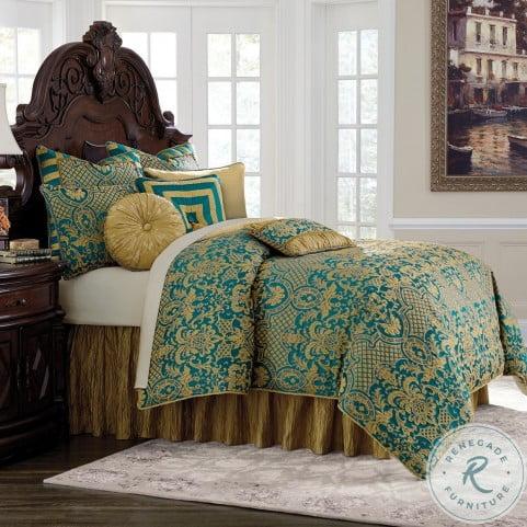 Aristocrat Turquoise 10 Piece King Comforter Set