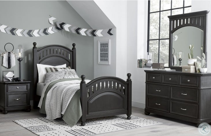 Kids Charcoal And Brown Twin Poster Bed