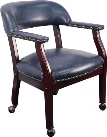 Navy Vinyl Conference Chair with Casters