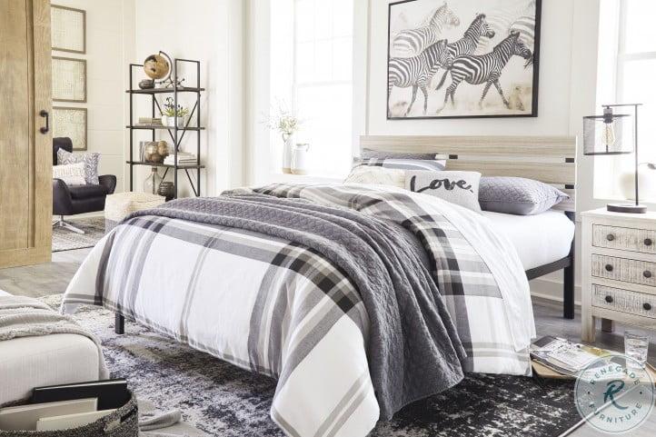 Waylowe Natural and Black Queen Platform Bed