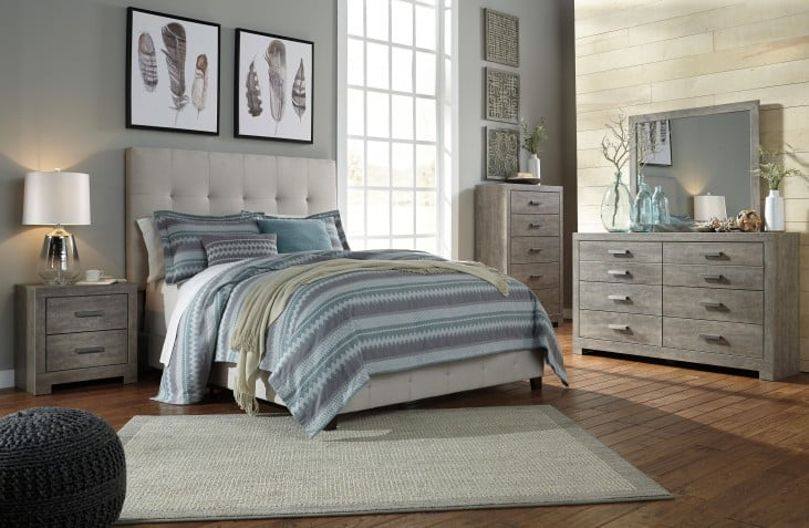 Contemporary Beige Queen Upholstered Panel Bed