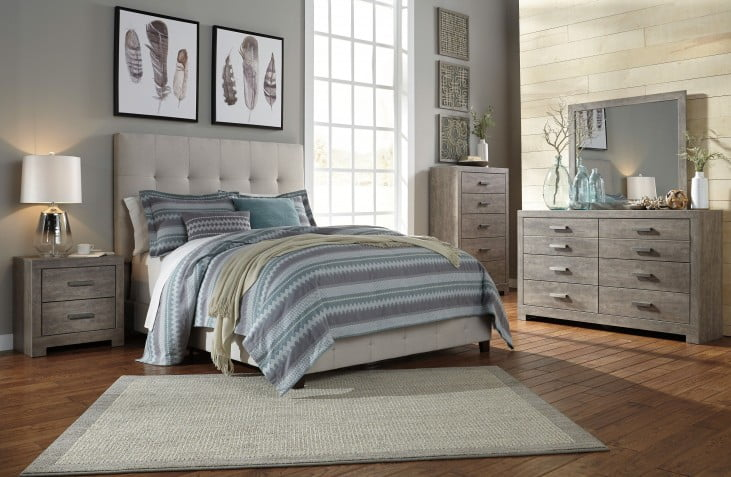 Contemporary Beige King Upholstered Panel Bed
