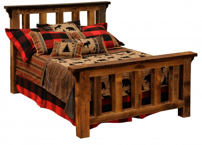 Barnwood King Post Bed