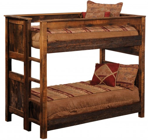 Barnwood Twin Over Twin Ladder Right Bunkbed