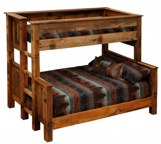 Barnwood Queen Over Twin Ladder Right Bunkbed