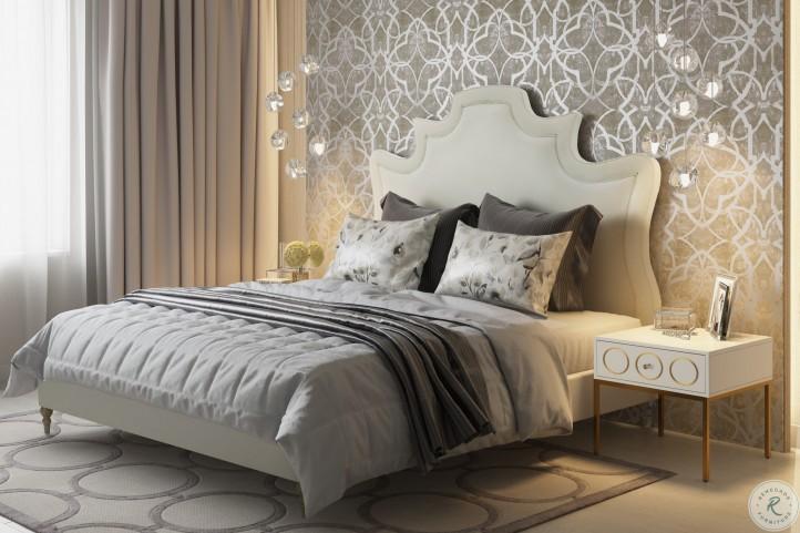 Serenity Cream Velvet Queen Upholstered Platform Bed