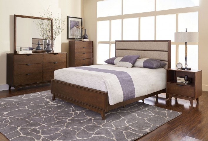 Mid-Mod Cinnamon Upholstered Panel Bedroom Set