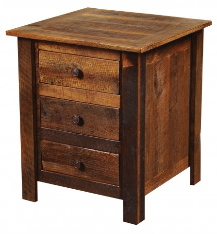 Barnwood Three Drawer Nightstand with Barnwood Legs