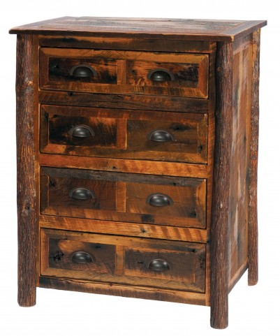 Barnwood Premium Four Drawer Chest with Hickory Legs