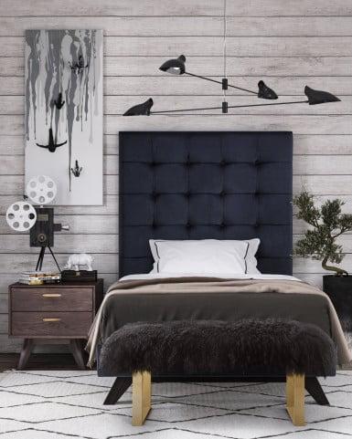 93dd0b0b09661 Eden Velvet Twin Upholstered Platform Bedroom Set from TOV