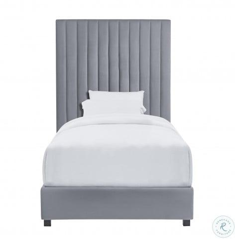 Arabelle Grey Twin Upholstered Platform Bed